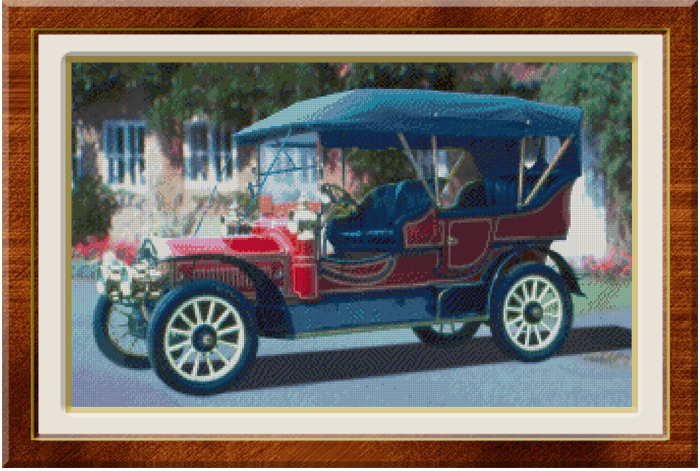 Vintage Car infront of Cottage Finished Cross Stitch